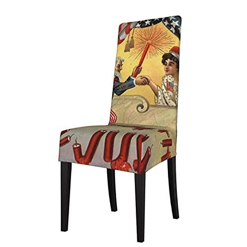 Fundas para sillas Uncle Sam Fireworks Firecracker Us Flag Retro Elásticos Super Comedor Silla Funda Protector de Asiento SlipcoverComedor Silla Fundas de Silla de Comedor Desmontable
