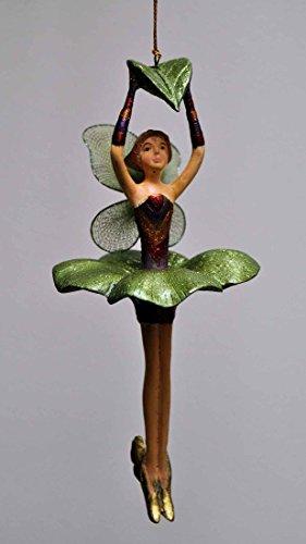 crafts & design Blumenelfe mit Blatt, Fee, Deko Hänger, Kupfer, lila, grün, 17 cm