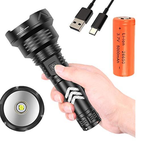 LED Linterna Alta Potencia 10000 Lúmenes, Lintern Táctica Lámpara Militar, Superbrillante Antorcha Impermeable 5 Modos, para Cámping Excursionismo Emergencias
