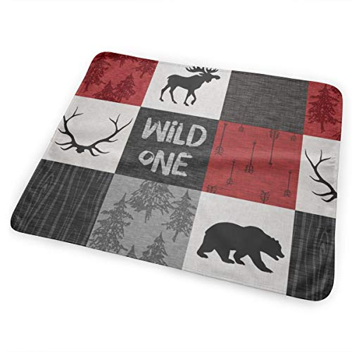 Wild One Quilt B Red, Black And Grey Woodland Moose Bed Pad Washable Waterproof Urine Pads for Baby Toddler Children and Adults 31.5 X 25.5 inch