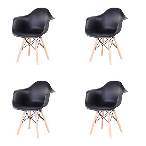 GrandCA 4er Set Stühl, Sessel,Freizeit Wohnzimmer Stühl Esszimmerstühl,Stuhl im nordischen Stil (Schwarz)