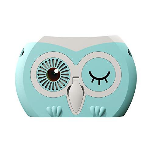 GZW El mini ventilador de mano portátil es un pequeño ventilador de escritorio recargable con batería y se puede colgar alrededor del cuello. Azul