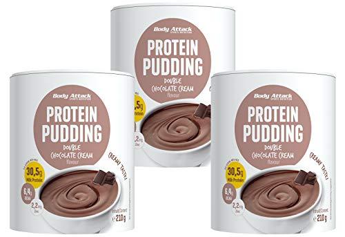 Body Attack Protein Pudding ohne Kochen, 3 x 210 g, Chocolate, High Protein Puddingpulver, aspartamfrei