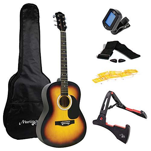 Martin Smith マーティン・スミス アコースティックギター サンバースト 初心者セット ソフトケース・ギターストラップ・交換用弦 ・チューナー・ギタースタンド・ピック付属 W-102
