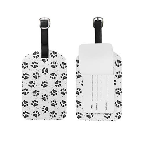 Chic Houses Etiquetas de equipaje de cuero con huellas de perro lindo simple equipaje etiqueta de viaje bolsa de identificación etiqueta para maleta 2031570