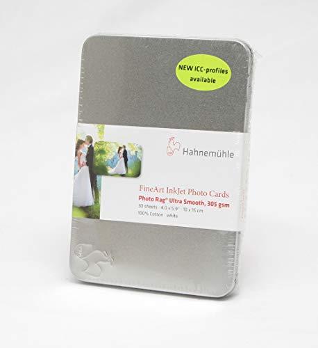 Hahnemühle DFA Photo Cards, Photo Rag Ultra Smooth 305 gsm 10x15cm, 30 Blatt in Mettalbox