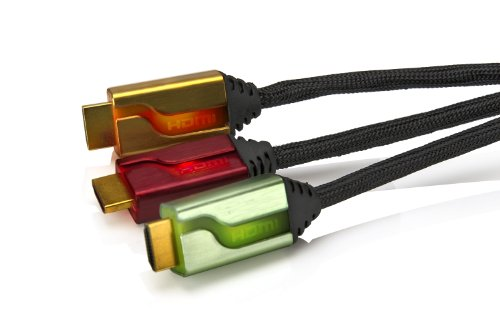 PDP - Triple Cable HDMI 6' Afterglow, Color Rojo/Dorado/Verde