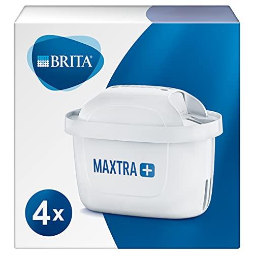 BRITA MAXTRA+ – Pack 4 filtros para el agua, Cartuchos filtrantes compatibles con jarras BRITA que reducen la cal y el cloro