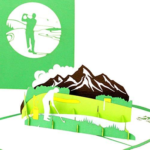 """Pop Up Karte """"Golf – Golfplatz"""" – Hochwertige 3D Karten als Geburtstagskarte & Glückwunschkarte für Golfer, Golf Spieler und Freunde des Golfsports - als Ruhestandkarte, Ruhestand, Jubiläum & Abschied"""