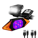 Bike Lights Front and Back Rechargeable, MakeTheOne Super Bright Bicycle Headlight and Tail Light Set Turn Signals, Easy to Install Safety Flashlight Warning Rear Blinkers for Night Riding Cycling