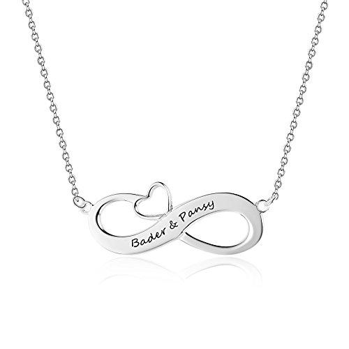 Grand Made Nombre Nombre Personalizado Collar con Infinito Prometido Collar Pareja Relación Collar Collar de Boda Plata de Ley 925 para Mujeres Joyería de Las Mujeres