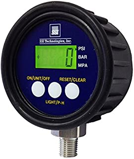 SSI TECHNOLOGIES MG1-9V Series Media Gauge Digital Pressure Gauge Sensor with LCD Display, 500psig Operating Pressure, 9V, 1% Accuracy, 1/4-18 NPT Male Process Connector Type