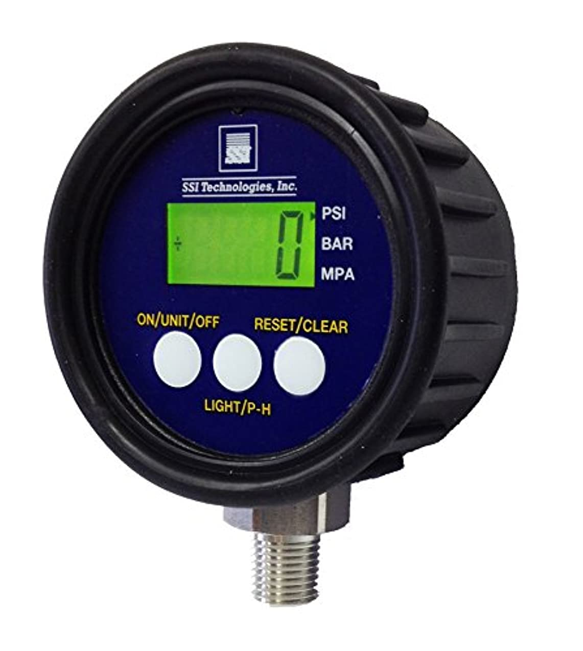 SSI TECHNOLOGIES MG1-9V Series Media Gauge Digital Pressure Gauge Sensor with LCD Display, 3000psig Operating Pressure, 9V, 1% Accuracy, 1/4-18 NPT Male Process Connector Type