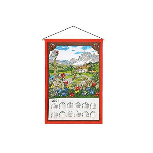 GGM Stoffkalender Wandkalender, Diverse Motive, 45 x 65 cm, Baumwolle, inkl Stab und Kordel 0159 Almhütte