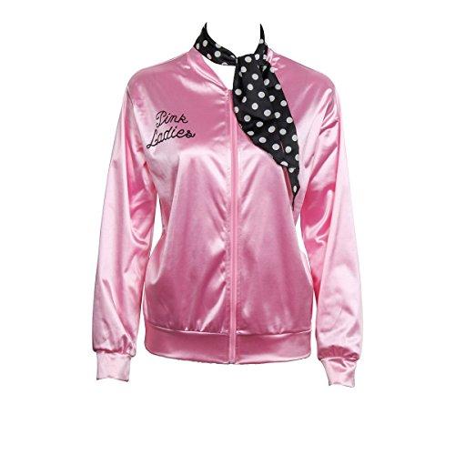 Nofonda Halloween Kostüm, Ladies Pink schicke Jacke 50er 60er 70er Jahre Damen Kostüm, Pink Jacke aus Satin mit Polka Dots Schal, Party Rock n Roll (X-Small)