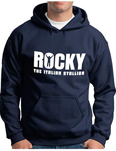 OM3® - Rocky Balboa Hoodie - Herren - The Italian Stallion 70s 80s Cult Boxing Movie - Kapuzen-Pullover Navy, XL