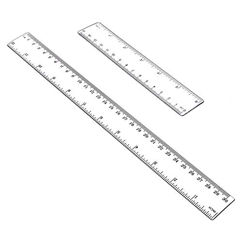 NIUTA Straight Plastic Rulers, 6, 12 Inches(15,30cm) Measuring Ruler Tool, Clear (2 Pack) (c21)