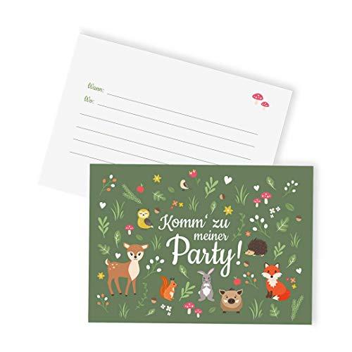 Ideenverlag 12x Waldtiere Einladungskarten zum Kindergeburtstag / Rehkids / Einladungen / Grußkarten / Geburtstag / Karten