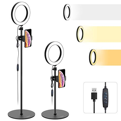 "Ring Light with Stand and Cell Phone Holder - Tryone 8"" LED Selfie Ring Light Camera Stand for Live Stream/Makeup/YouTube Video, Compatible with iPhone/Android Phones, Height from 26.2-73.4 Inches"