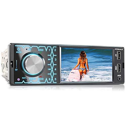 XOMAX XM-V419 Autoradio con Schermo da 4.1' / 10 cm I Ricaricare il cellulare con 2a porta USB I Bluetooth I USB, SD, AUX I 7 Colori I Collegamenti per Retrocamer I 1 DIN