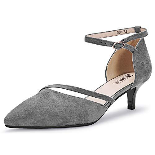 IDIFU Damen IN2 Maxine Hochzeit Low Kitten Heels Geschlossene Zehen Party Kleid Pumps Schuhe für Braut Braut Frauen, Grau (Graues Wildleder), 37.5 EU