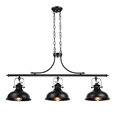 GZBtech Vintage 3-Light Pendant Lighting Fixture, 59.06'' H Adjustable Rustic Hanging Billiard Light Over The Pool Table, Industrial Black Metal Chandelier for Dinning Room Kitchen Island
