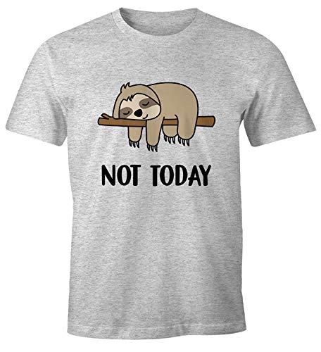 MoonWorks Lustiges Herren T-Shirt Not Today Chillen Fun-Shirt Faultier grau-meliert S