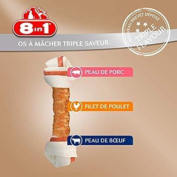 8in1 Triple Flavour L - Os à Mâcher pour Chien de Petite Taille – Plus de viande, plus de durée de mâche - Limite le Tartre - Sans OGM, Conservateur Artificiel