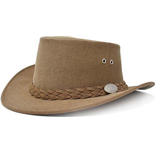 Aussie Chiller Original Outback Bushie Cooling Hat with Soak Me Design for All Season Comfort | Made in Australia (Camel Brown, X-Large)