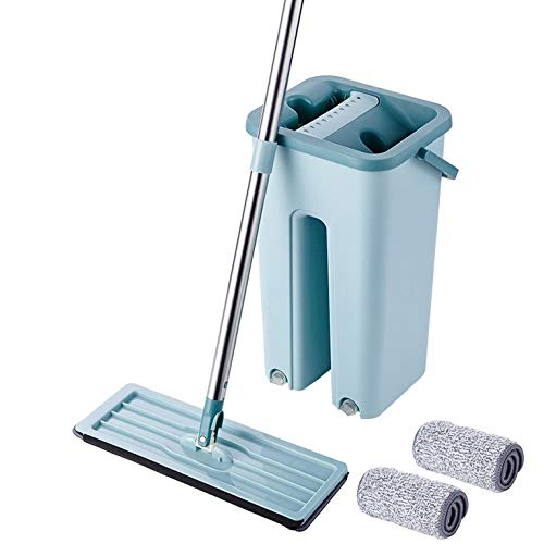 Mopa de limpieza para suelos húmedos y secos, práctica herramienta de limpieza, cubo + barra + dos mopas