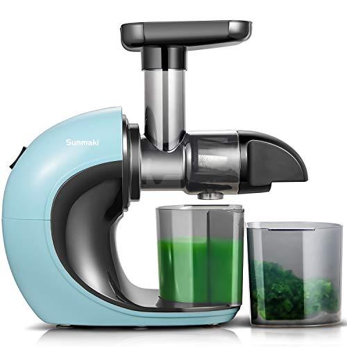 Entsafter Slow Juicer,Sunmaki Gemüse und Obst Profi Entsafter mit langsam,Kaltpress-Entsafter mit leisem Motor und Rückwärtsfunktion,leicht zu reinigen mit Pinsel,hoher Saftausbeute