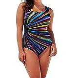NEEKY Regenbogen Damen Übergröße Bikinis Tankini Swim Kleid Badeanzug Beachwear gepolsterte Bademode Frauen Plus Size Badeanzüge,Rückseite Einteiler Swimsuit