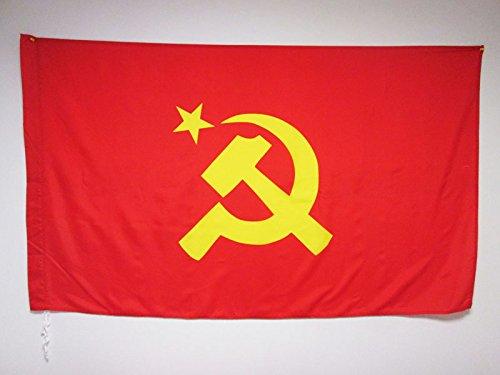 AZ FLAG Flagge SOWJETUNION UDSSR ZENTRALER Logo 150x90cm - Kommunismus Fahne 90 x 150 cm Scheide für Mast - flaggen Top Qualität