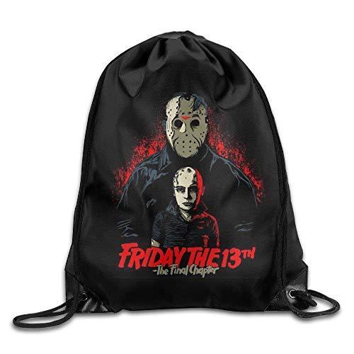 Etryrt Turnbeutel/Bedruckte Sportbeutel, Premium Drawstring Gym Bag, Halloween-Friday The 13th Nylon Drawstring Backpack Home Travel Sport Storage