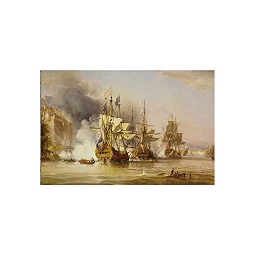 VUSMH Batalla Naval histórica Pintura en Lienzo Obra de Arte Militar Arte de la Pared Poster de Barcos de Vela Impresiones Decoraciones de Pared para Salon de Estar 80x120cmx1 Sin Marco