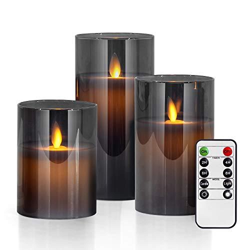 LED Kerzen im Grau Glas, Flackernde Flammenlose Kerzen, Batteriebetriebene Kerze mit Fernbedienung, Realistisch Echtwachskerze, 10 cm, 12,5 cm, 15 cm Stumpenkerze für Weihnachten, Party, Hochzeit