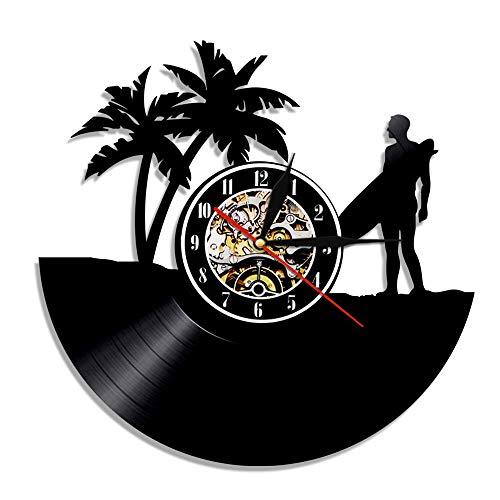 Enofvd Hora de Verano diseño de Reloj de Pared con Disco de Vinilo decoración del hogar al Aire Libre Windsurf Reloj de Windsurf Regalo 12 Pulgadas