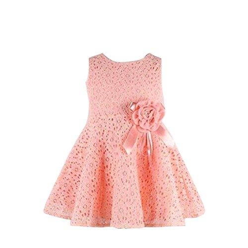 Kolylong® Kleid Mädchen (0-7 Jahre alt) 1PC Blumenspitze Prinzessin Party Kleid (90 (0-2 Jahr), Rosa)