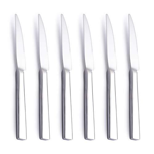 AMOMGard Steakmesser Set 6 teilig Edelstahl Hochwertig Dick Steak Messer Besteck für 6 Personen Tafelmesser Fleischmesser Rostfrei Poliert Edelstahlgriff Spülmaschinengeeignet