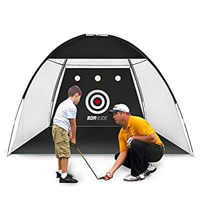 Roanude Golf Practice Nets for Backyard Driving, Golf Target Hitting Net with Carry Bag for Indoor or Outdoor Use, Black - 6.5FT