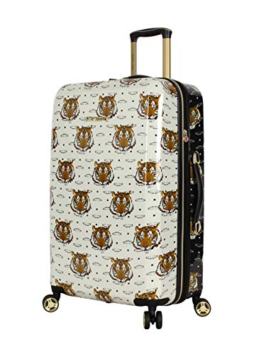 Betsey Johnson 26 Inch Checked Luggage Collection - Expandable Scratch Resistant (ABS + PC) Hardside Suitcase - Designer Lightweight Bag with 8-Rolling Spinner Wheels (Tiger Print)