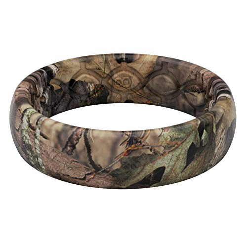 Groove Life Silicone Wedding Ring for Women - Breathable Rubber Rings for Women, Lifetime Coverage, Unique Design, Comfort Fit Womens Ring - Thin Camo Mossy Oak Breakup Country Size 8