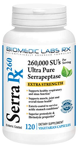 Serra-RX 260,000 SU Serrapeptase - Enteric Coated Proteolytic Systemic Enzyme, Non-GMO, Gluten Free, Vegan, Supports Sinus, Immune & Lung Health, 120 Veg Capsules