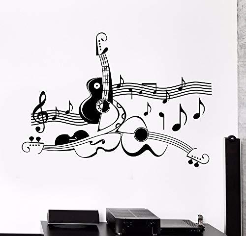 Woondecoratie muurstickers gitaar bladmuziek coole woonkamer decoratie vinyl stickers woondecoratie kunst muurschilderingen verwijderbare muur <> 57x41cm