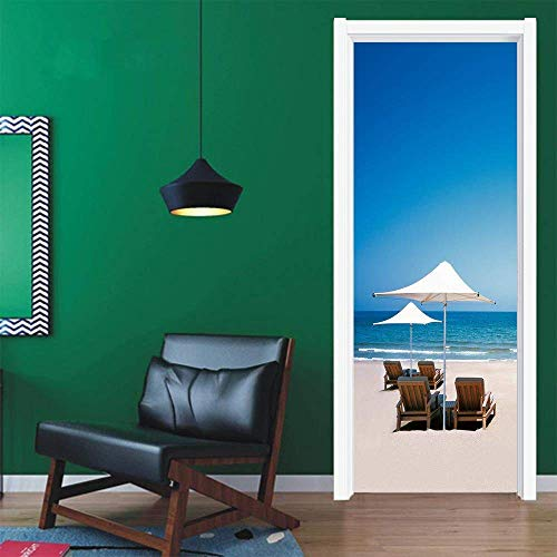 CKIQ 3D Landschaft tür wandaufkleber Strand Landschaft Schlafzimmer Bad Selbstklebende wasserdichte duschtür Aufkleber Poster wandtattoo,77x200cm