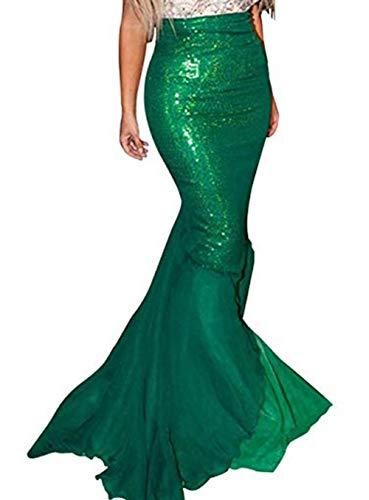 IFLOVE Women Halloween Costume Cosplay Mermaid Fancy Dress Skirt (US 2, Green 2)