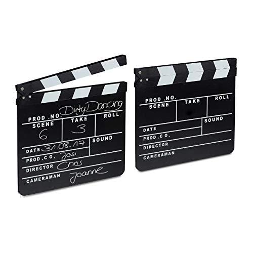 2 x Filmklappe Holz, Regieklappe zum Beschriften, Clapperboard, Szenenklappe, Hollywood Deko, HxB: 26 x 30 cm, schwarz