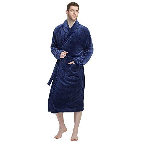 U2SKIIN Mens Fleece Robe Plush Collar Shawl Bathrobe(Navy,2XL/3XL)