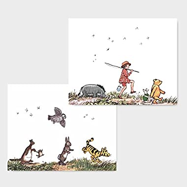 "(Set of 2) Classic Winnie the Pooh Nursery Prints (Baby Wall Art, Boy Girl Room Decor) ""Animal Parade"" -- 8x10 Unframed"