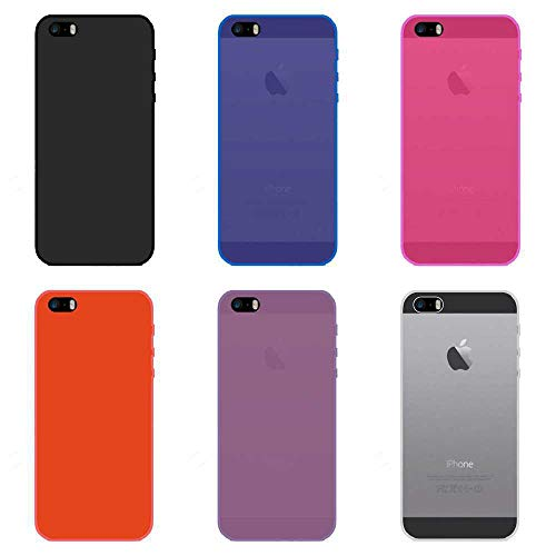 Todo Phone Store Pack X6 Funda Carcasa Case Silicona TPU Gel Lisa Lote Negro Azul Rosa Rojo Morado Transparente para Apple iPhone SE 2016/5 / 5S 4G